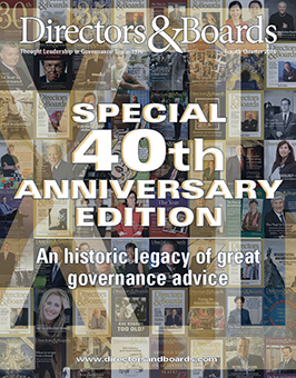 Directors & Boards 40th Anniversary 2016 Fourth Quarter Issue Cover